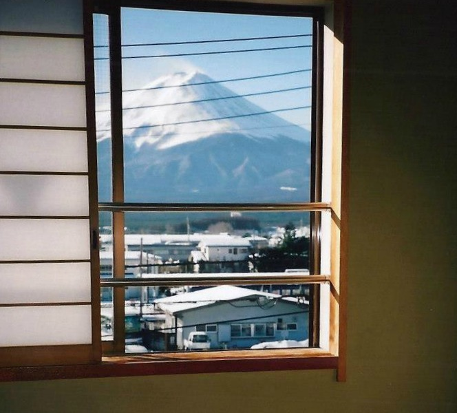 Fuji-san from my ryokan window with Castle View Academy