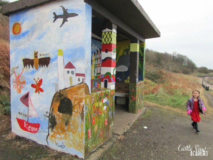 Making a walking path beautiful with community art, Castle View Academy homeschool