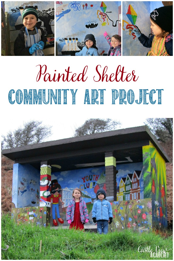 Castle View Academy helps out with a community art project to paint a shelter along a path by the sea. A fun and beautiful community project