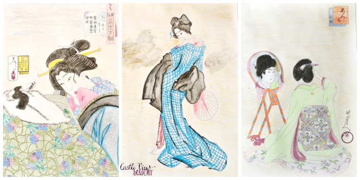 3 images from Beautiful Women Japanese Prints Coloring Book at Castle View Academy homeschool