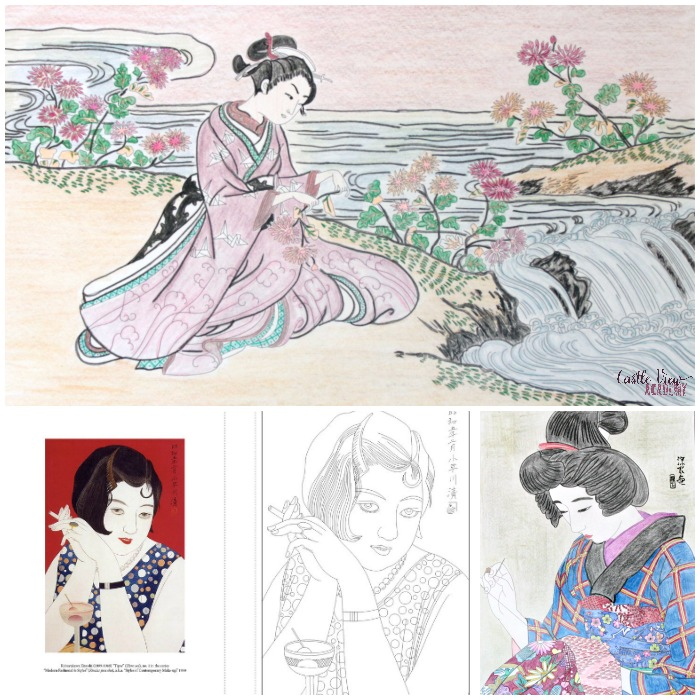 Castle View Academy relaxes with some adult coloring from Beautiful Women Japanese Prints