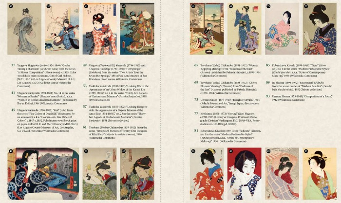 Contents from Women's Fashion and Lifestyle in Japanese Art, Japanese prints coloring book