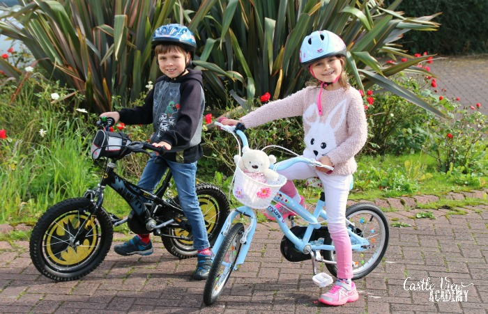 Cycling safety with helmets and first aid kits at Castle View Academy homeschool