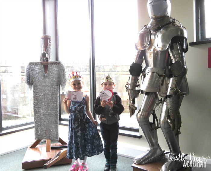 Learning about Knight's armour in person for the HSITW Knights Lapbook