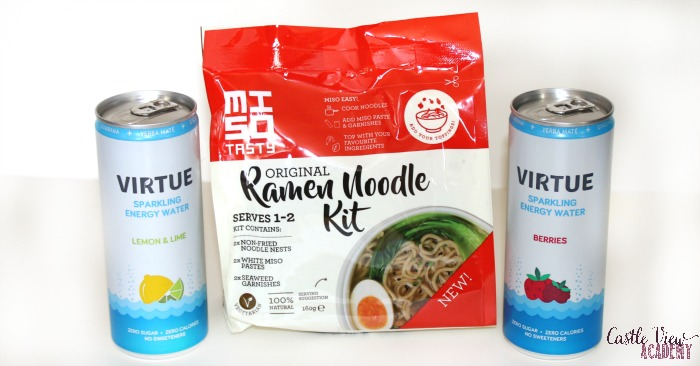 Ramen noodle kit in Degustabox with energy water for a lazy day at Castle View Academy