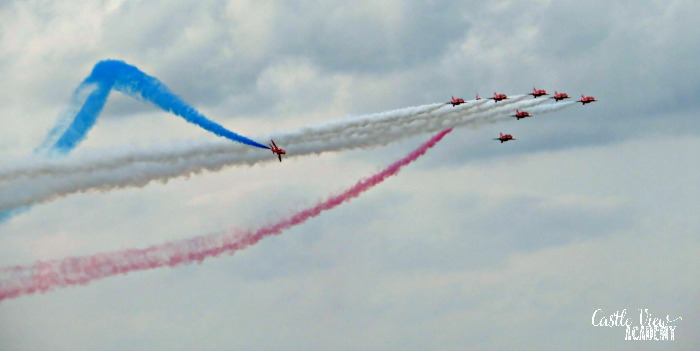 Red Arrows at the Portrush Air Show with Castle View Academy homeschool