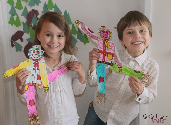 Scarecrow craft from Super Teacher Worksheets at Castle View Academy homeschool