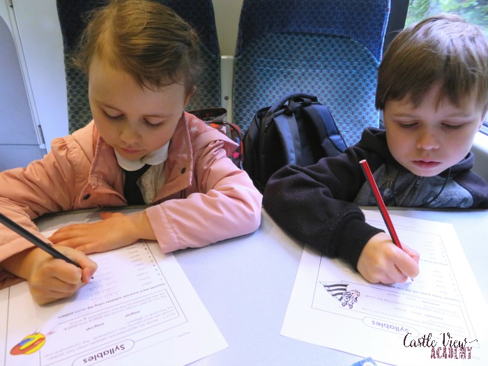 Super Teacher Worksheets are great for days on the train with Castle View Academy homeschool