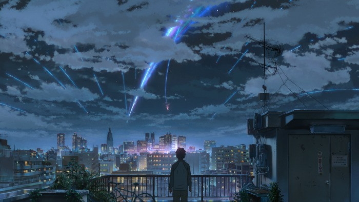 Your Name, the comet splits over Tokyo