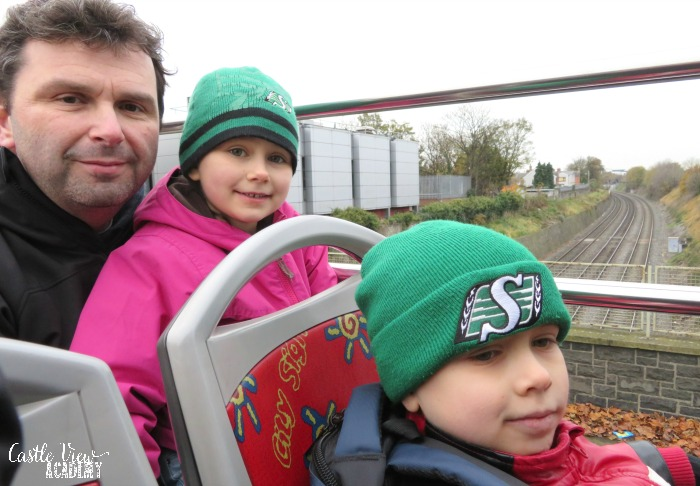 An open-topped bus tour in Dublin with Castle View Academy homeschool
