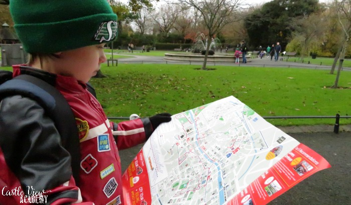 Castle View Academy consults the Hop On Hop Off Dublin Bus Tour map