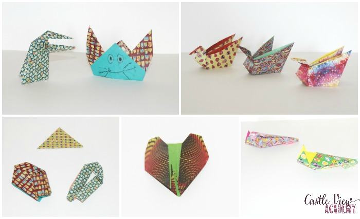 Fun and Easy Origami creations at Castle View Academy homeschool