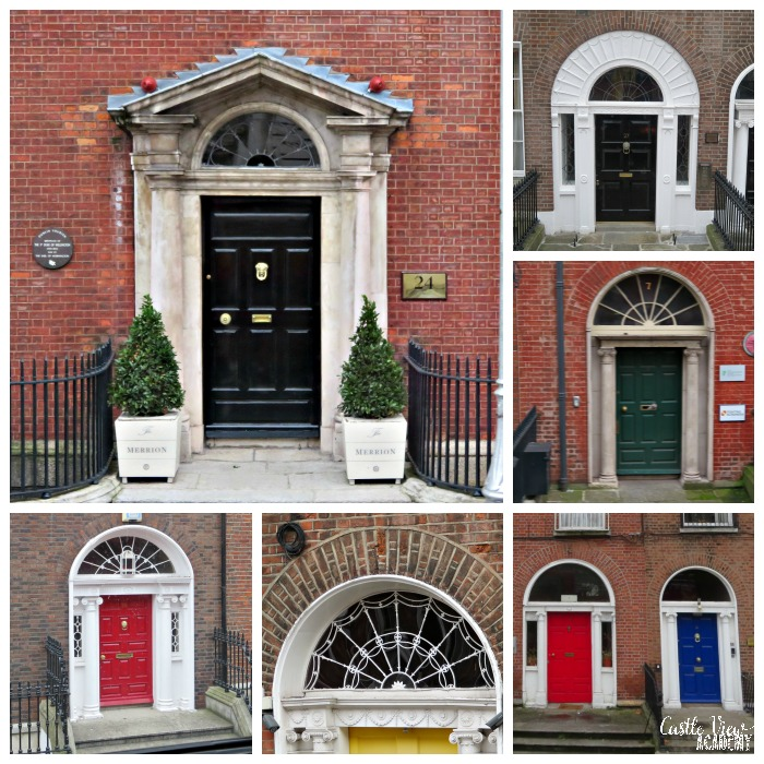 Georgian doors of Dublin Town with Castle View Academy