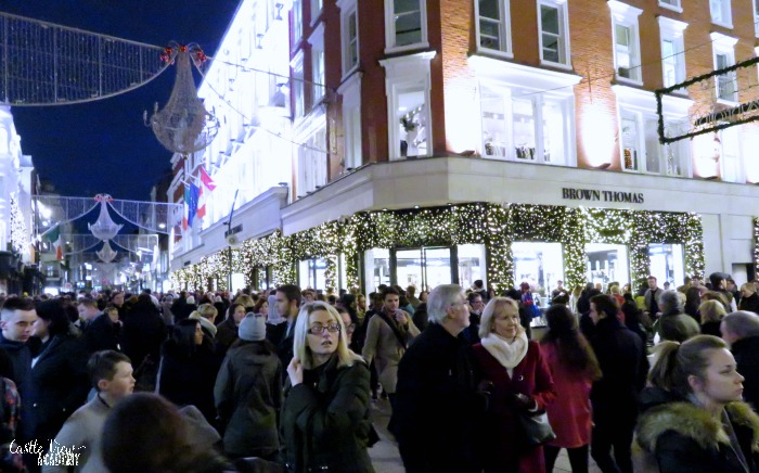 Grafton Street Dublin before the Christmas lights switch on with Castle View Academy