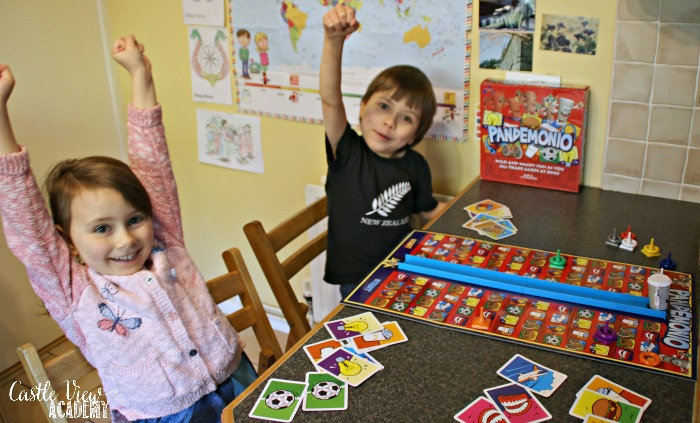 Playing Pandemonio is fun for Castle View Academy homeschool