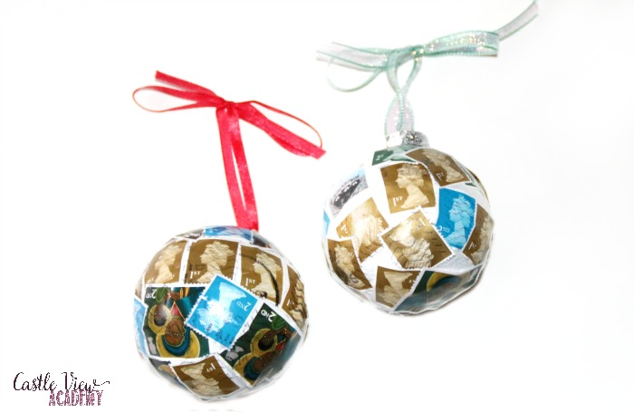 Postage stamp Christmas tree baubles at Castle View Academy homeschool