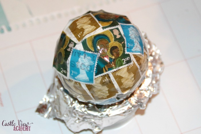 Postage stamp crafts for Christmas at Castle View Academy homeschool, postage stamp baubles