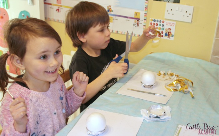 Starting Hogwart's Golden Snitch tree ornament craft at Castle View Academy homeschool
