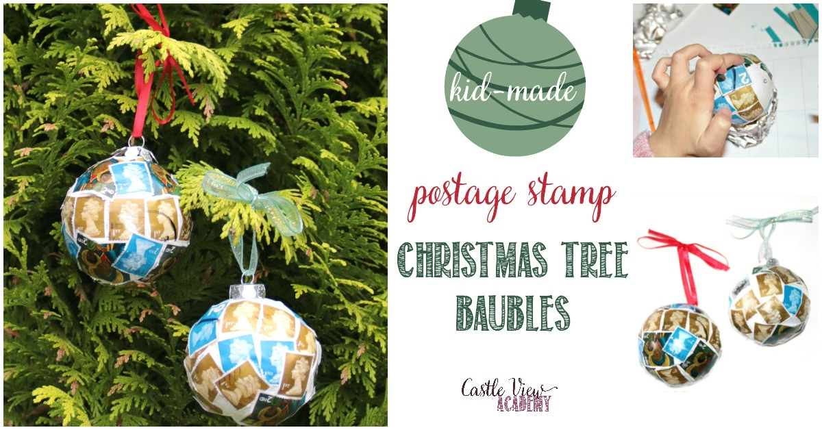 kid made postage stamp Christmas tree baubles at Castle View Academy