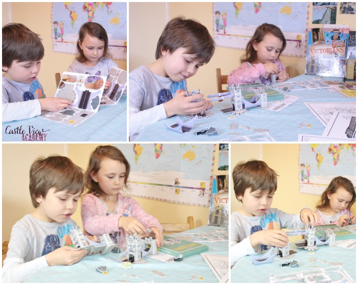 Castle View Academy homeschool builds Tower Bridge from the Mysteries In Time Victorian box