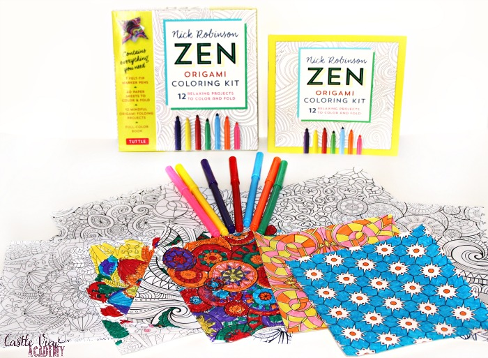 Contents of the Zen origami coloring kit at Castle View Academy homeschool
