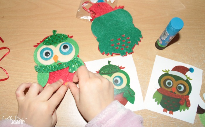Cute owl Christmas craft from The Works with Castle View Academy homeschool