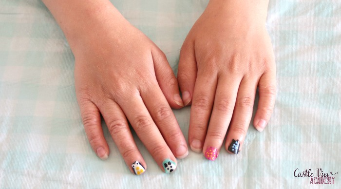 Fun nail painting designs happening at Castle View Academy homeschool