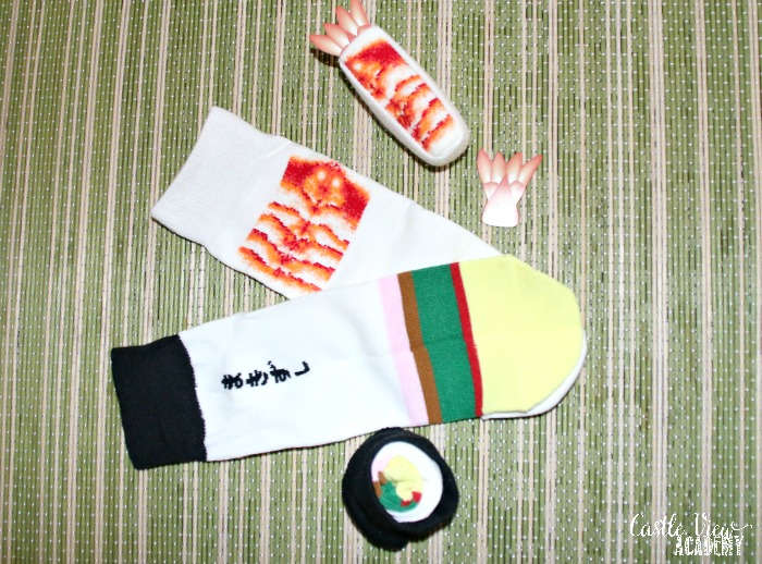 Fun sushi socks from Sous Chef at Castle View Academy homeschool