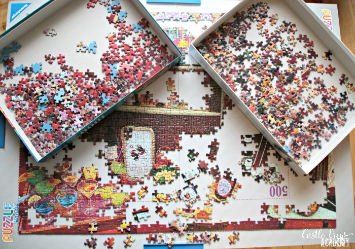 Ravensburger Retro puzzle has been started at Castle View Academy homeschool