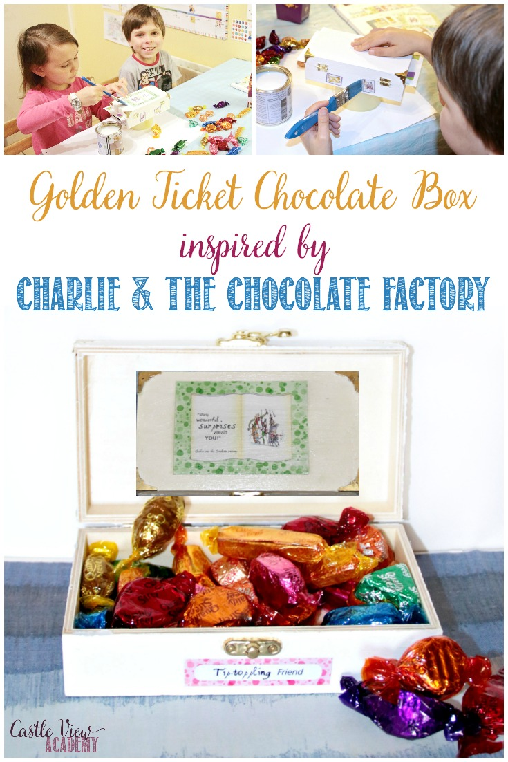 Golden Ticket Chocolate Box Inspired By Roald Dahl's Charlie and The Chocolate Factory, a children's book craft, kid-made, and a great homemade gift! Designed by Castle View Academy homeschool