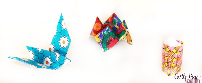 Zen origami coloring kit projects at Castle View Academy