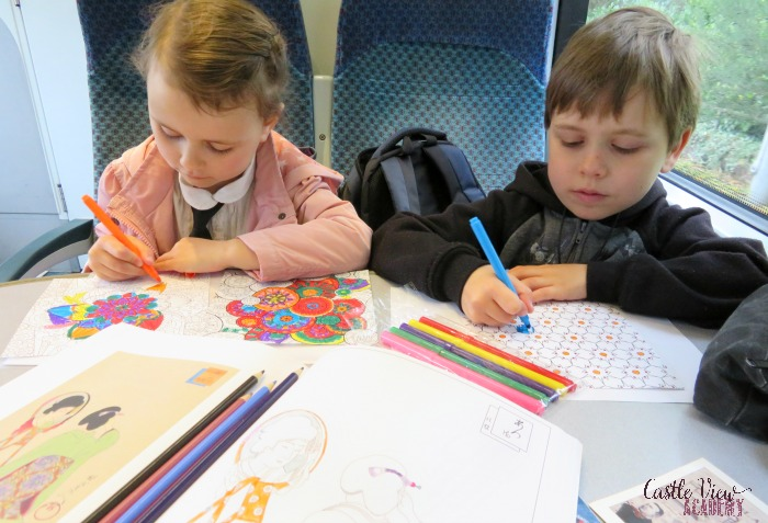 Zen origami coloring on the train with Castle View Academy homeschool