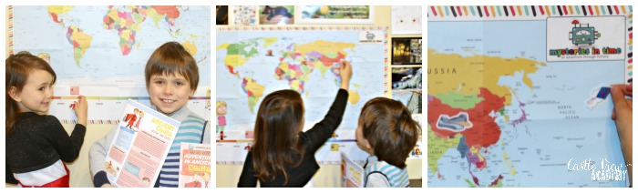Adding stickers to the timeline and map for Ancient China at Castle View Academy homeschool