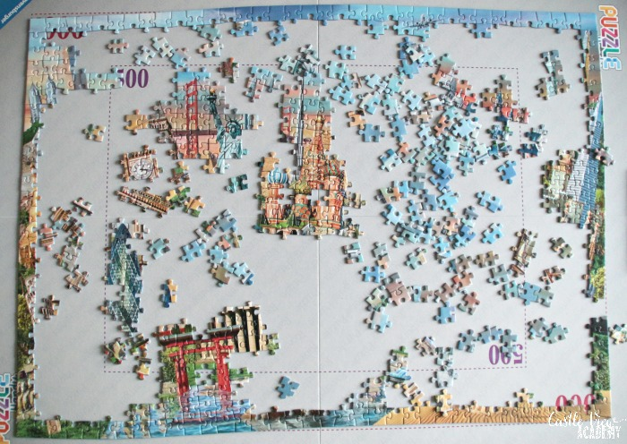 Castle View Academy begins a World Landmarks jigsaw puzzle