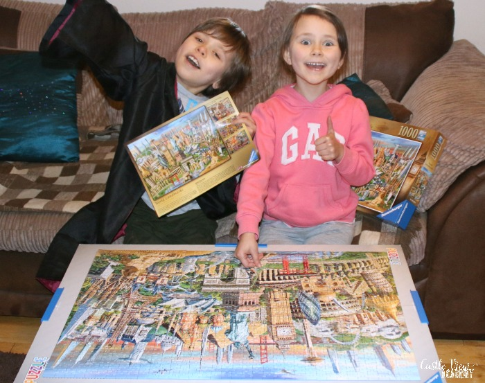 Castle View Academy celebrates completing a World Landmarks puzzle