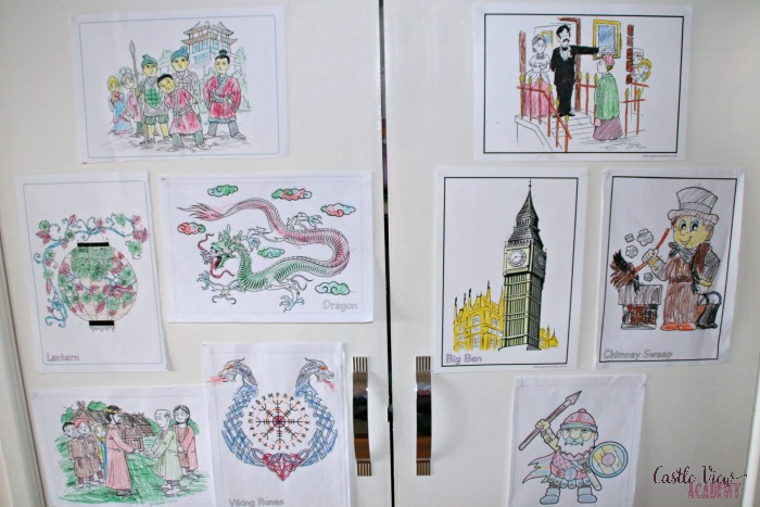 Colouring from Mysteries In Time at Castle View Academy