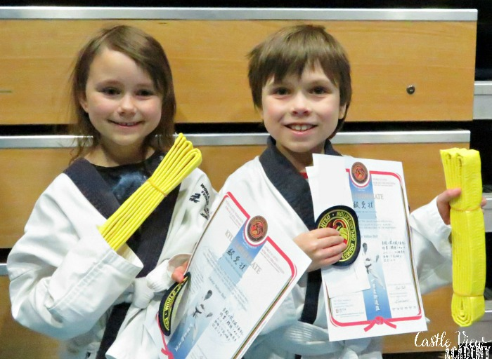 Happy Children after testing for Ju-jitsu yellow belts at Castle View Academy