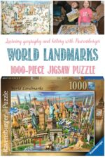 Learning history and geography with a World Landmarks puzzle at Castle View Academy homeschool