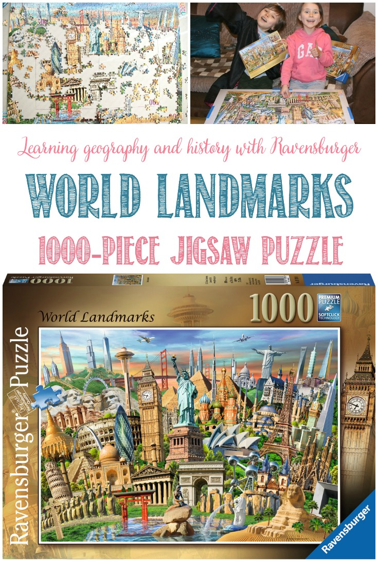 We love to be armchair travellers and learn about the world at home. Combine history, culture, and architecture, and we're happy campers! When Ravensburger asked if we would like to piece together their 50 World Landmarks puzzle we were very keen to get started.