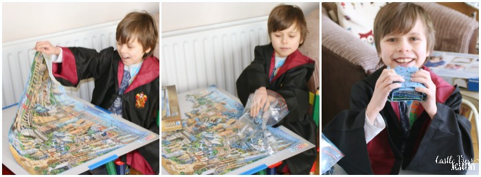 Putting away the Ravensburger World Landmarks puzzle at Castle View Academy