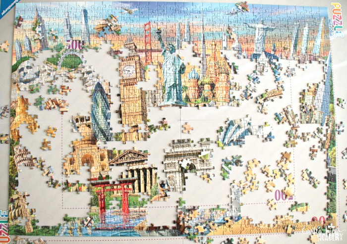 World Landmarks are coming into focus in this puzzle at Castle View Academy homeschool