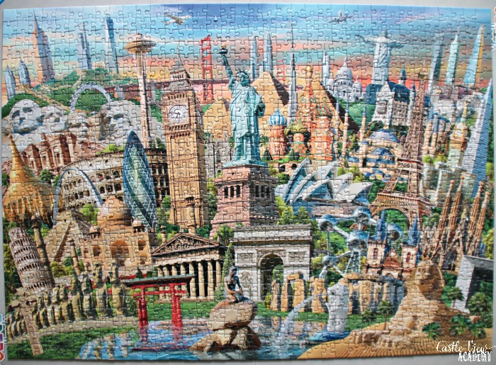 World Landmarks puzzle is complete at Castle View Academy