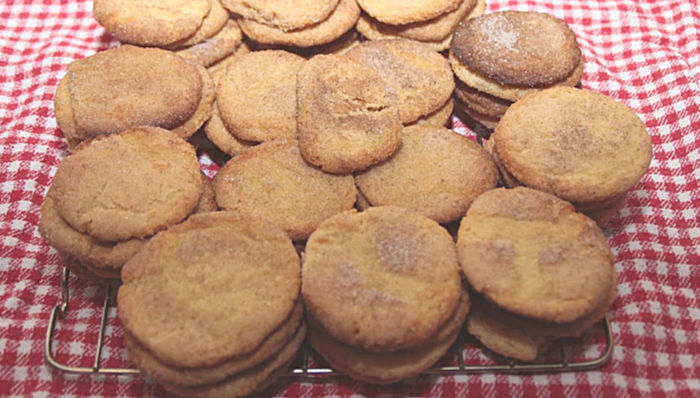 Snickerdoodle cookies hot out of the oven