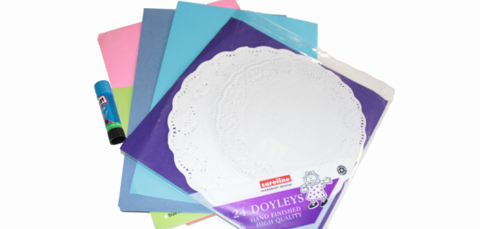Supplies for a doily angel craft