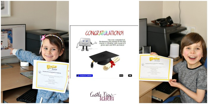 Ultrakey Online typing certificates at Castle View Academy homeschool
