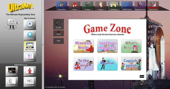 Ultrakey Online typing games for kids at Castle View Academy.com