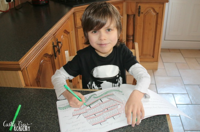 Art of Cursive in progress at Castle View Academy homeschool