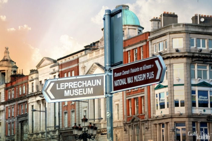 Dublin signpost with the Leprechaun Museum with Castle View Academy homeschool, Dublin With Kids