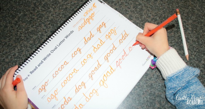 learning cursive handwriting at Castle View Academy homeschool