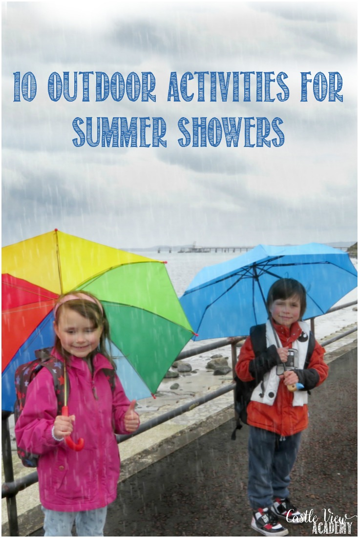 10 Outdoor Kids Activities For Summer Showers; don't let a rainy day stop the fun!  Go screen free and head outdoors for an adventure. #screenfree #rainydayfun #kbnmoms #mkbkids #dontforgettheumbrella